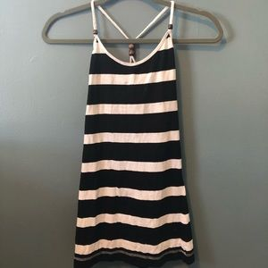 Blue and White Striped Racerback Tank